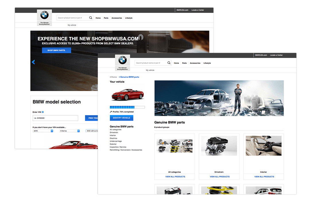 Two additional desktop views of the BMW Aftersales eCommerce website showcasing tailored content to ones vehicle purchases.