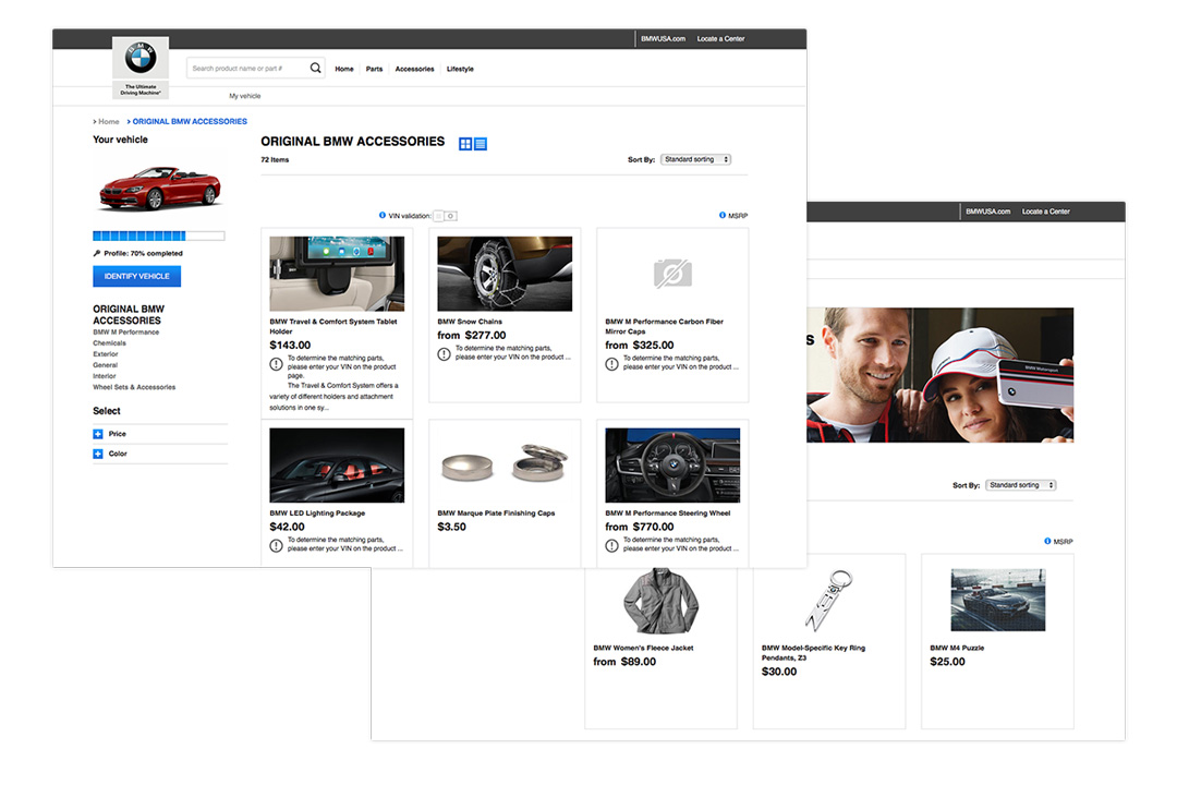 Two desktop views of the BMW Aftersales eCommerce website showcasing the variety of accessories available from BMW.