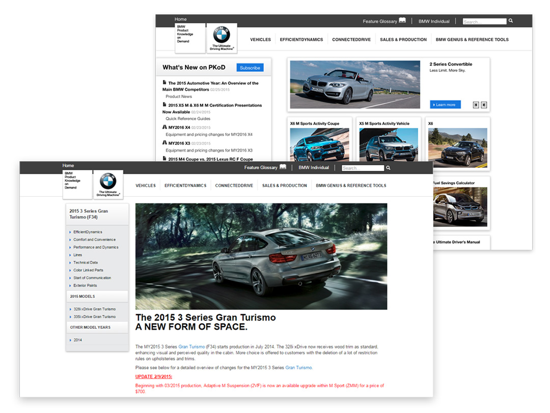 Two non-descript web-views of the Product Knowledge on Demand dashboard, showcasing BMW Vehicle information and offers.