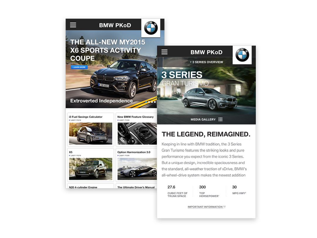 Two additional mobile-screen views of the Product Knowledge on Demand dashboard showcasing a BMW X6 and 3 Series vehicle information.