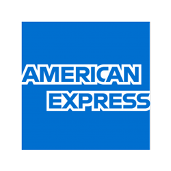 American Express logo in black and white.
