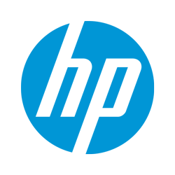 HP logo in black and white.